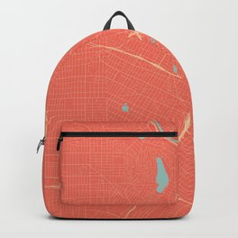 Los Angeles, California City Map in Coral Pink Backpack
