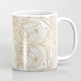 Trendy Gold Floral Mandala Marble Design Coffee Mug