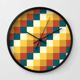 My Honey Pot - Pixel Pattern in yellow tint colors Wall Clock