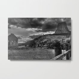 Devil's Tower, Wyoming Black and White Photographic Metal Print