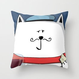 French cat, Le Meow... Throw Pillow