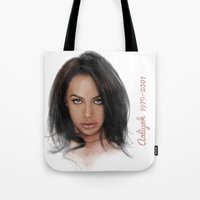 aaliyah Tote Bags featuring Aaliyah by Tribute Portrait