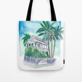 Key West Florida Conch Dream House - Palms and Balcony Tote Bag