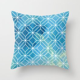 Geometric Crystals: Stormy Sea Throw Pillow