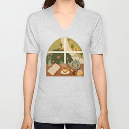 Tea Time by the Window Unisex V-Neck