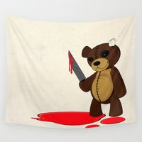 psycho Wall Tapestries featuring Psycho Teddy by Nicklas Gustafsson