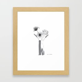 Black and White Floral Bouquet Framed Art Print