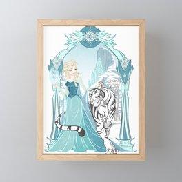 Frozen White Tiger Framed Mini Art Print
