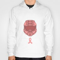 master chief Hoodies featuring Pink  Halo Master Chief Helmet by RoboKev