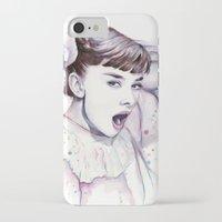 hepburn iPhone & iPod Cases featuring Audrey Hepburn Watercolor by Olechka