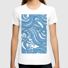 Stencil with Pattern of Waves,19th century Japan (Edited Blue) T-shirt