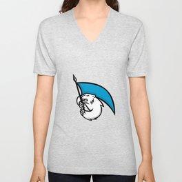 Angry Polar Bear Brandishing Flag Mascot Unisex V-Neck