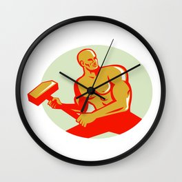 Athlete With Sledgehammer Training Oval Retro Wall Clock