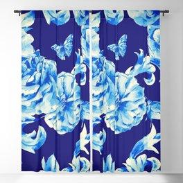 Blue Flowers & Butterflies Pattern Blackout Curtain