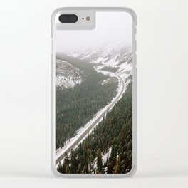 Snowy Mountain Road Clear iPhone Case