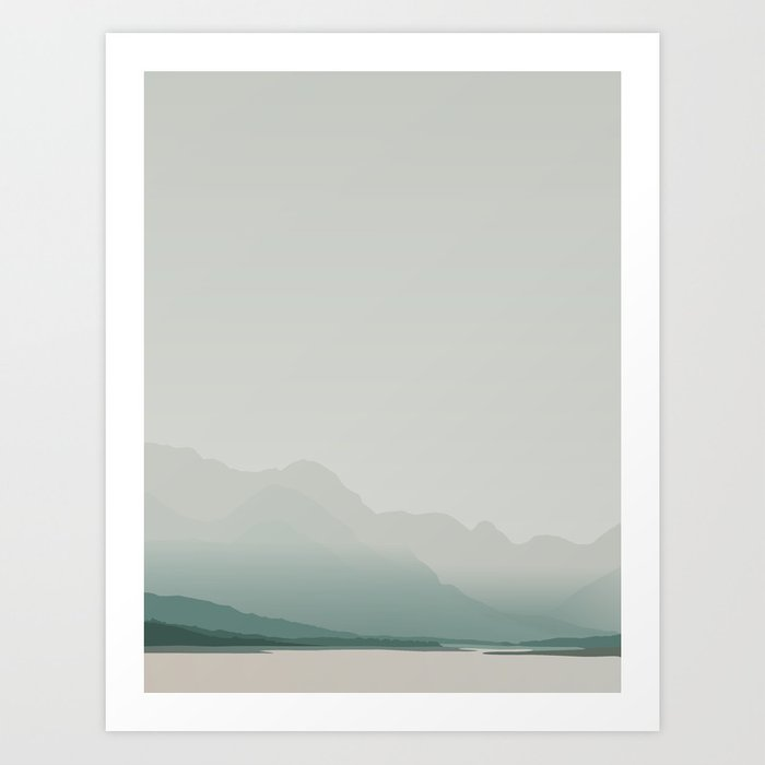 Serene mountain lake Art Print