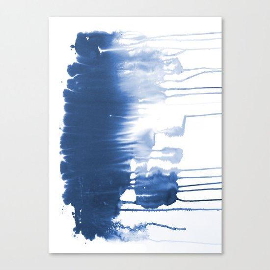 Paint 1 - indigo blue drip abstract painting modern minimal trendy home decor dorm college art Canvas Print