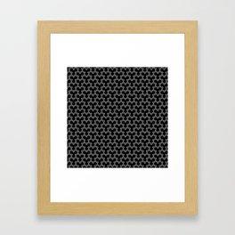 Grey Triangles on Black Framed Art Print