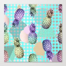 Pineapple Summer Rainbow Rose Gold Canvas Print