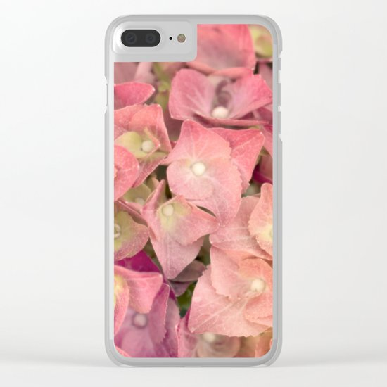 Pink hydrangea in LOVE - Flower floral Clear iPhone Case
