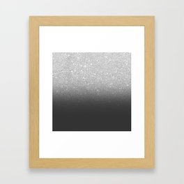 Modern faux silver glitter ombre grey black color block Framed Art Print