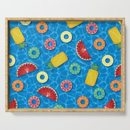 Fruit Salad Pool Floats Pattern – Blue Serving Tray