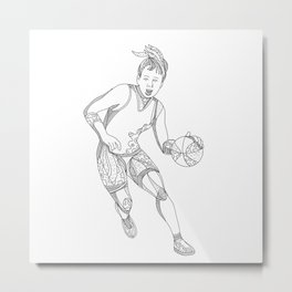 Female Basketball Player Doodle Art Metal Print
