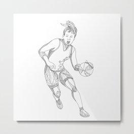 Female Basketball Player Doodle Art Metal Print