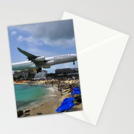 Maho beach ,airport Sint Maarten island Stationery Cards