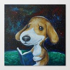 Dog Reading Canvas Print