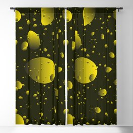 Large yellow drops and petals on a dark background in nacre. Blackout Curtain