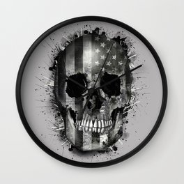 usa black and white skull Wall Clock