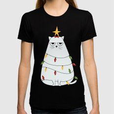 Grumpy Christmas Cat MEDIUM Womens Fitted Tee Black