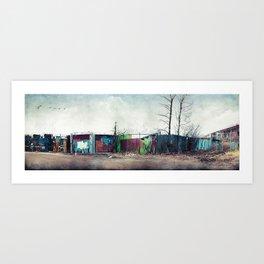 Junkyard Fence Art Print