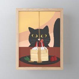 Carb Fiend aka Hungry Cat Eating Pancakes Framed Mini Art Print