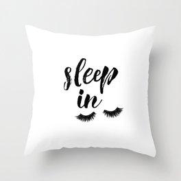Sleep In Print, Sleep In Sign, Sleep Art, Eyelash Wall Art, Bedroom Wall Art Throw Pillow