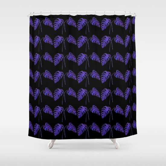 Indigo Monstera Leaf Watercolor on Black Shower Curtain