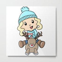Girl On A Deer Metal Print