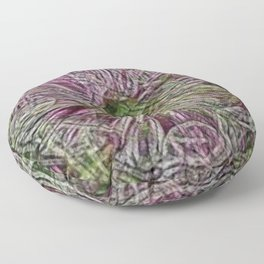 Contemporary Red-Violet Flowers Floor Pillow