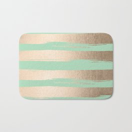 Painted Stripes Gold Tropical Ocean Green Bath Mat