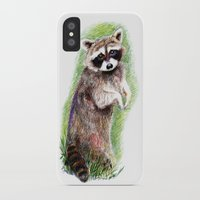 raccoon iPhone & iPod Cases featuring Raccoon by Anna Shell