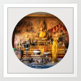 Big Buddha Shrine Pattaya (Circle) Art Print