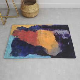 Mountain and Sun Abstract Acrylic Painting on Paper Rug