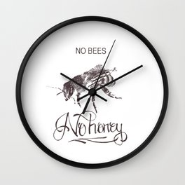 No Bees No Honey Wall Clock