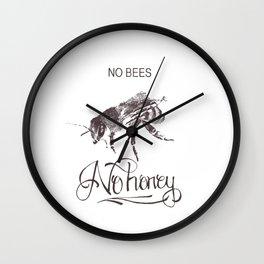 No Bees No Honey Wall Clock