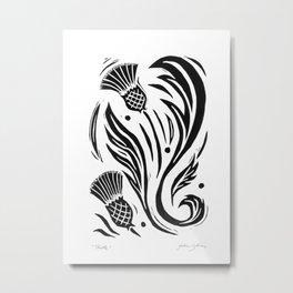 Thistle - Black and White Metal Print