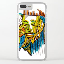Colorful Faces by Armando Renteria Clear iPhone Case