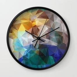 Abstract background of triangles polygon print. Bright design colors Wall Clock