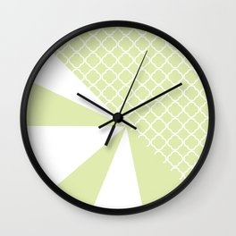 Geometric green white quatrefoil color block pattern Wall Clock