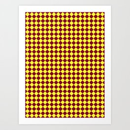 Electric Yellow and Burgundy Red Diamonds Art Print